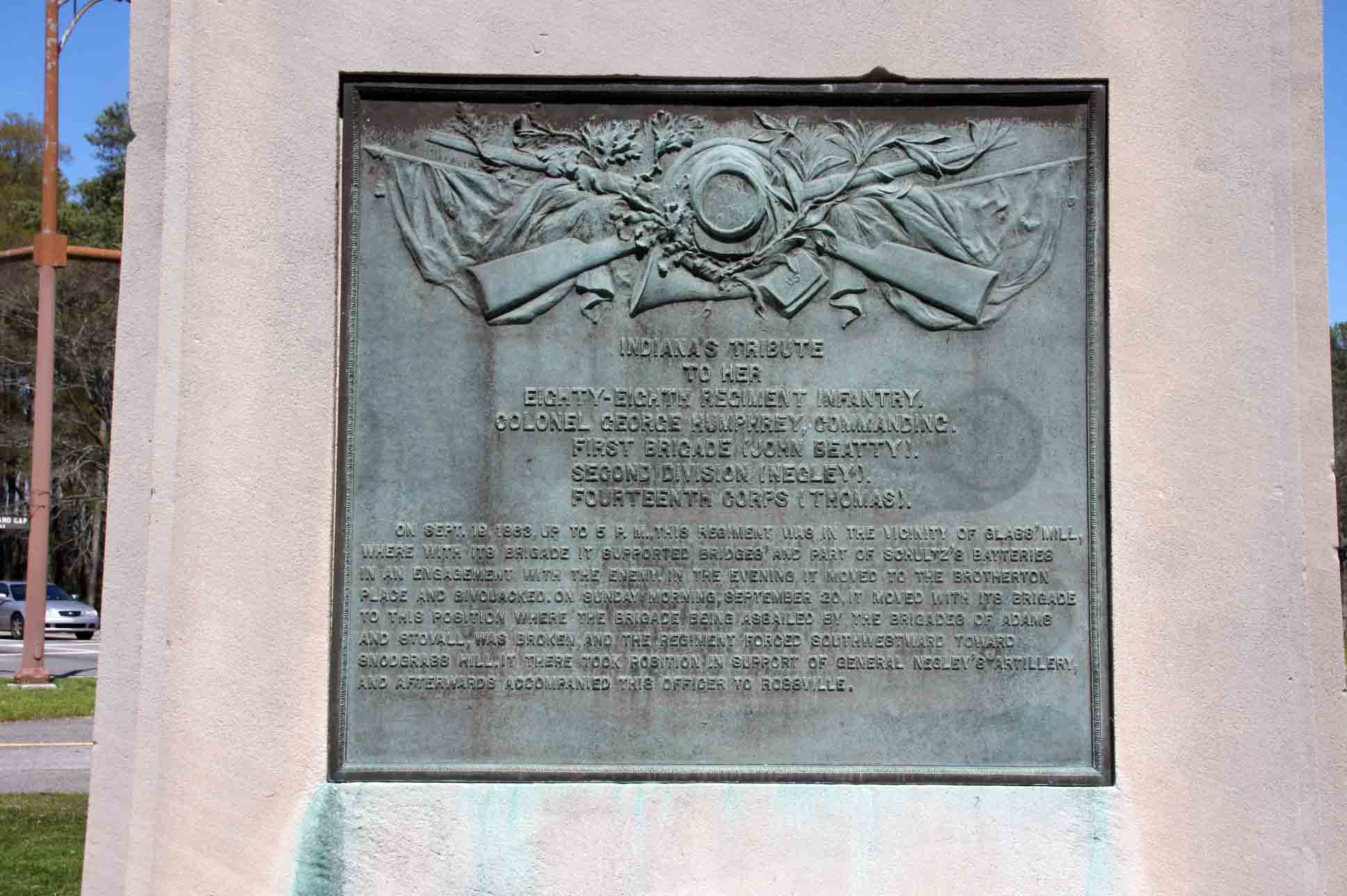 88th Indiana Infantry Regiment Monument, click photo to enlarge.