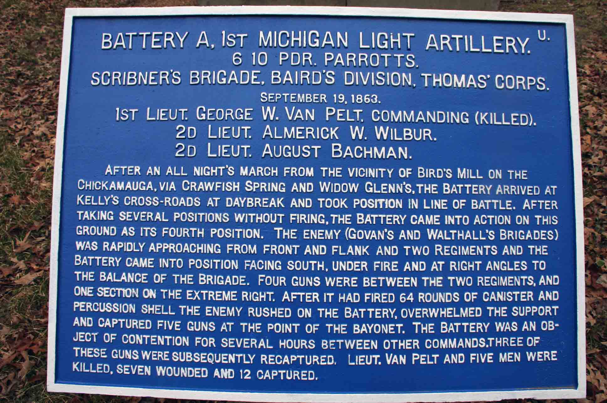 1st Michigan Light Artillery, Battery A, Tablet, click photo to enlarge.