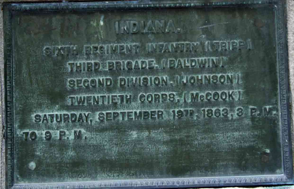 6th Indiana Infantry Regiment Marker, click photo to enlarge.