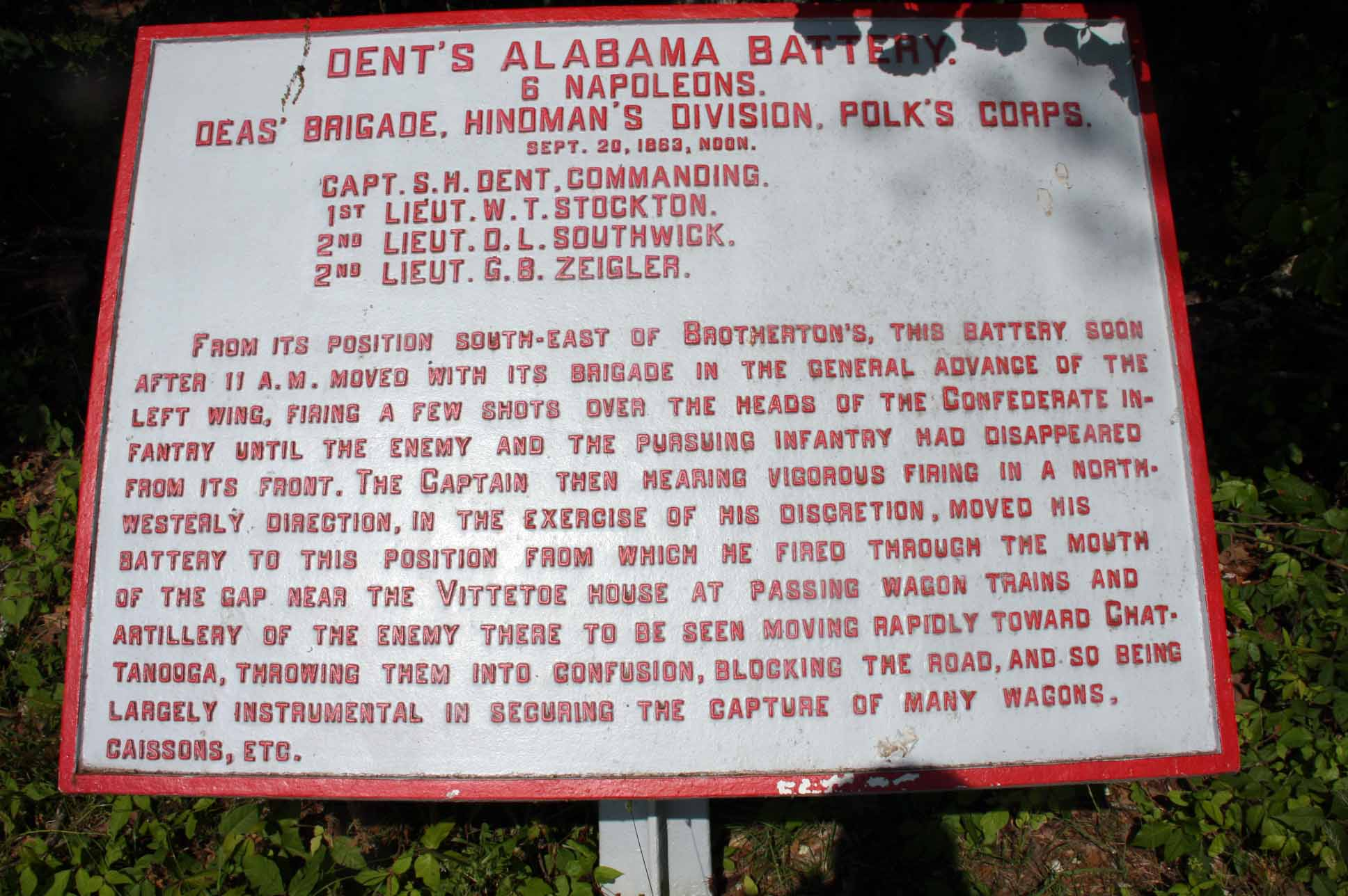 Dent's Alabama Battery Tablet, click photo to enlarge.